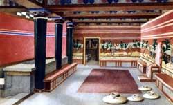 «Тронный» зал Кносского дворца Крит. Позднеминойский период. Реконструкция по А. Эванс.