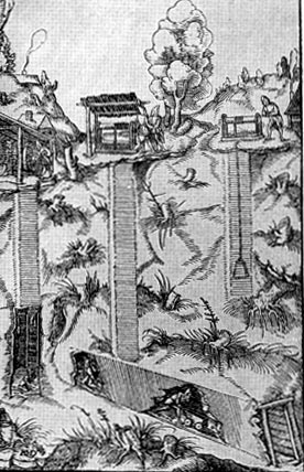 Шахта в разрезе. Гравюра из книги Г.Агриколы 'О металлах' 1556 г.