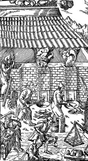 Доменные печи. Гравюра из книги Г. Агриколы 'О металлах' 1556 г.
