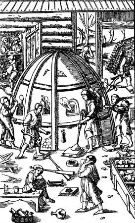 Стеклодувы. Гравюра из книги Г. Агриколы 'О металлах' 1556 г.