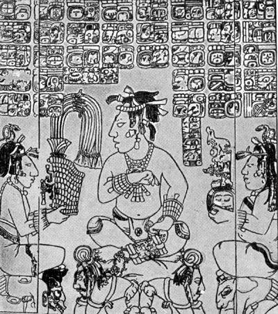 Прорисовка барельефа с изображением вождя и рабов. Паленке