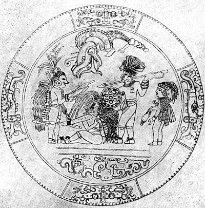 Жертвоприношение. Прорисовка золотого диска Чичен-Ица