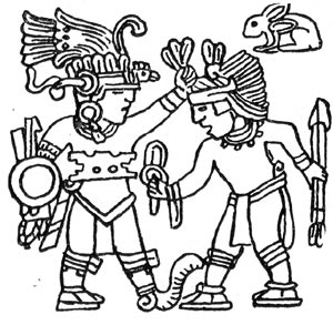 Покорённый город в образе война, склонившегося перед богом войны ацтеков Уицилопочтли. Прорисовка берельефа на камне. Тицок