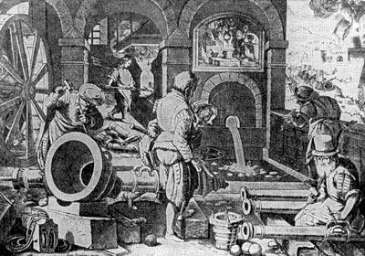 Литьё пушек в XVI в. Гравюра Ф. Галле по рисунку Ж. Страдануса.