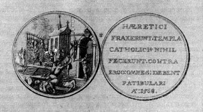 Медаль, выбитая в знак протеста против инквизиции. 1588 г.