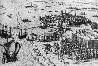 Взятие Бриля 'морскими гёзами' в 1572 г. Гравюра 1583 г.