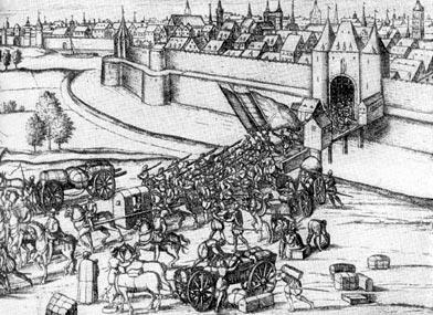 Отступление испанцев из Брабанта в 1577 г. Гравюра Ф. Гогенберга.