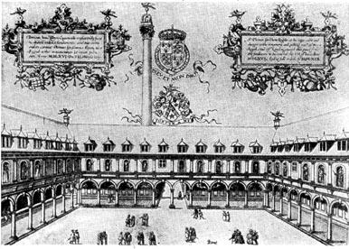 Лондонская биржа (открыта в 1571 г.). Старинная гравюра