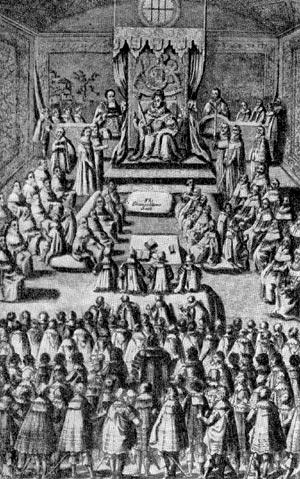 Заседание парламента при Елизавете. Гравюра XVI в.
