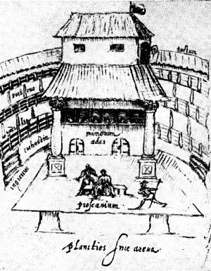 Внутренний вид лондонского театра 'Лебедь'. Рисунок Иоганна де Витта. 1596 г.