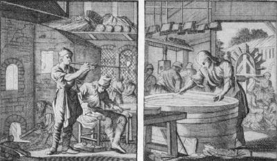 'Стеклодувы'; 'Производство бумаги'. Гравюры И. Оттенса