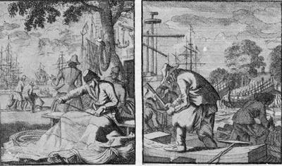 'Изготовление парусов'; 'Корабельные плотники'. Гравюра И. Оттенса