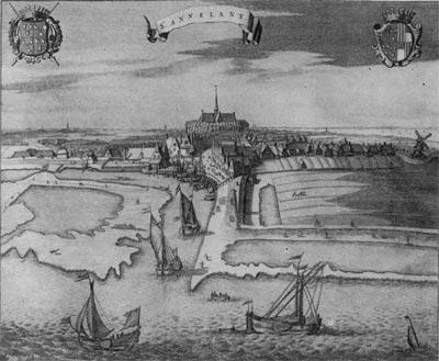 Польдеры и плотины в Голландии. Гравюра конца XVII - начала XVIII в.