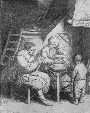 Крестьянская семья. Гравюра Адриана ван Остаде 1653 г.