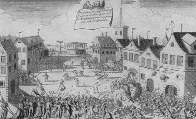 Восстание в Амстердаме в 1696 г. Гравюра XVII в.