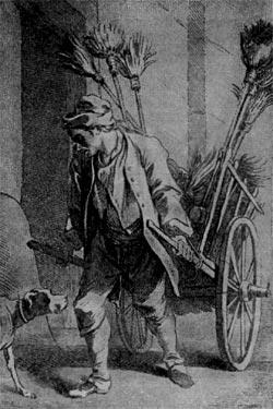 Продавец щёток. Рисунок Ф. Буше из серии 'Крики Парижа'