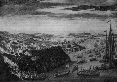Взятие Квебека англичанами 13 сентября 1659 г. Гравюра 1760 г.