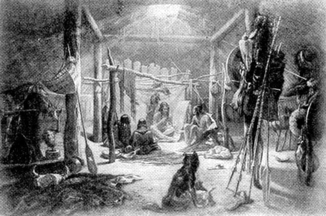 В индейской хижине. Рисунок К. Бодмера.