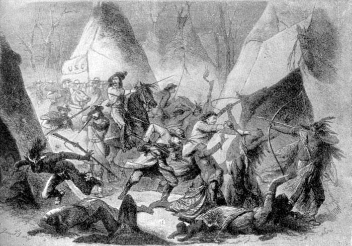 Сражение американцев с индейцами у вашиты (на границе с Канадой) в 1868 г. Гравюра 1869 г.