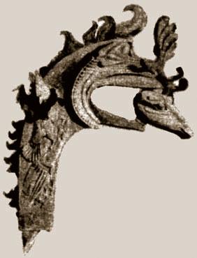 Грифон с головой оленя в клюве. Деревянное навершие с кожаной  инкрустацией, Пазырык