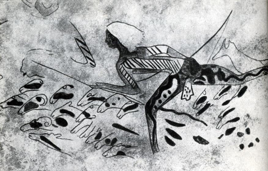 1. Тамрит. Фреска с изображением охотников (деталь). Скотоводческий период