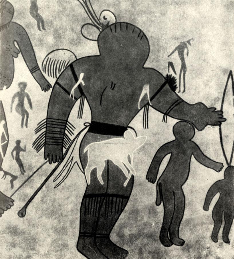9. Джаббарен. Лучник с головой, украшенной перьями. Расцвет стиля 'круглоголовых'  людей