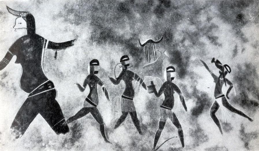 25. Тин-Тазарифт. Танцующие женщины Послескотоводческий период с признаками египетского влияния