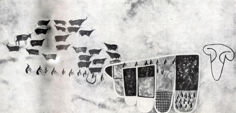 28. Тин-Тазарифт.  Схематическое изображение  стада быков. Скотоводческий период