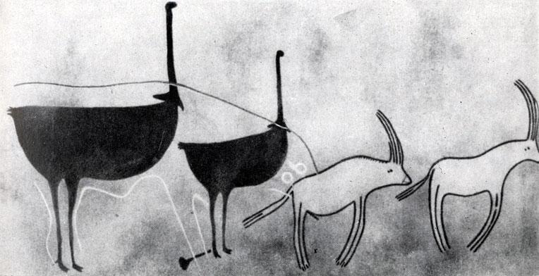 34. Аджефу. Страусы и антилопы. Стиль 'круглоголовых' людей