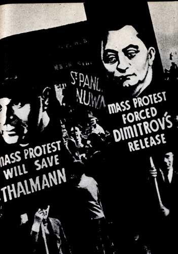 Антифашистская демонстрация с плакатами, призывающими к освобождению Г. Димитрова и Э. Тельмана из фашистских застенков. Лондон. 1933 г.