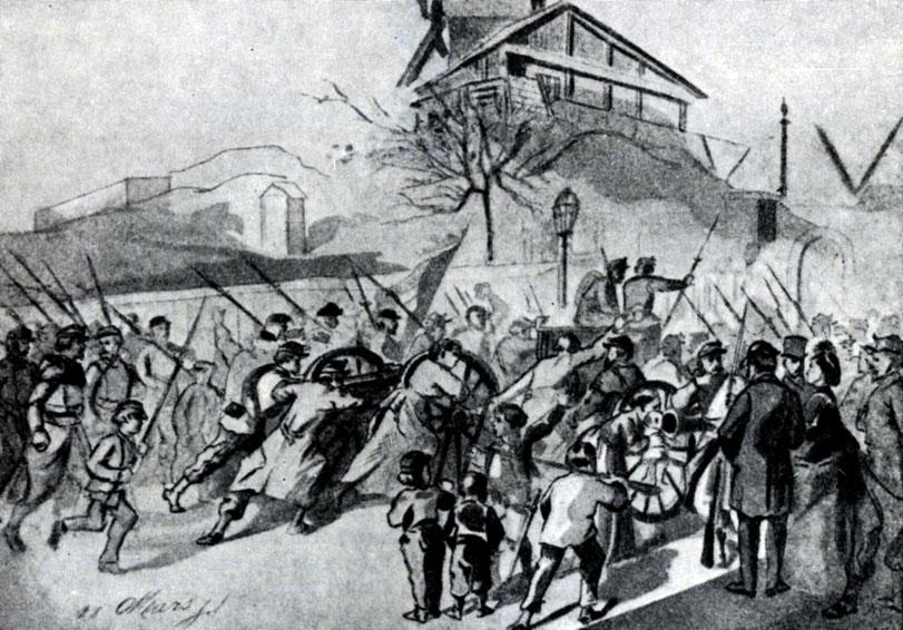 Монмартр  18 марта 1871 г. Рисунок с натуры Д. Дероша.
