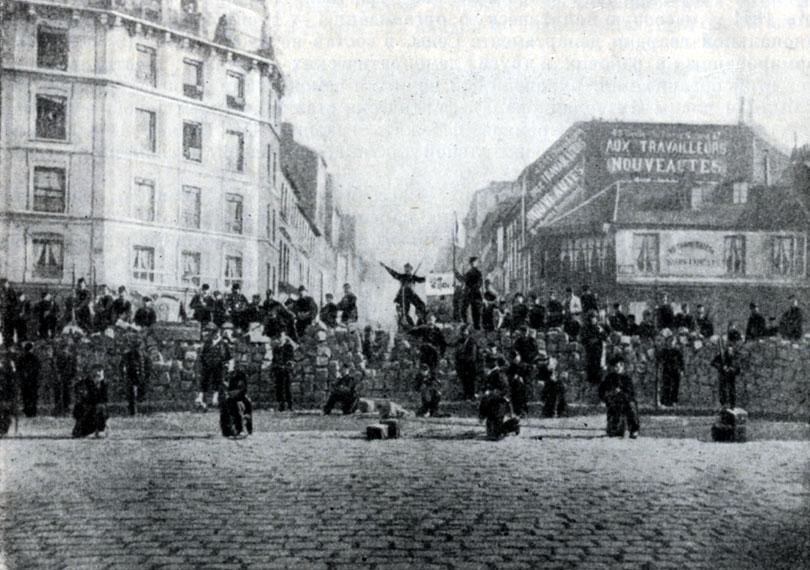 Баррикада в Менильмонтане 18 марта 1871 г. Фотография.