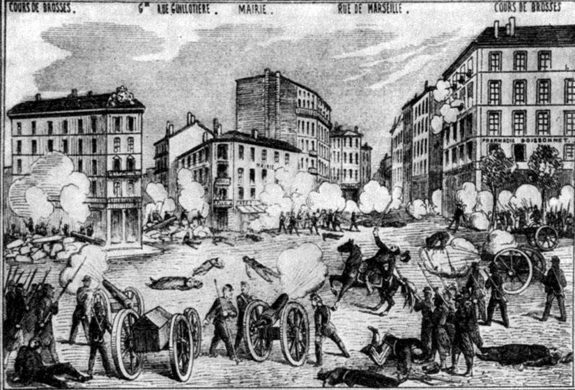 Восстание в Лионе 30 апреля 1871 г. Гравюра. 1871 г.