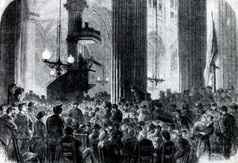 Заседание «Коммунального клуба» III округа в церкви св. Николая. Гравюра. 1871 г.
