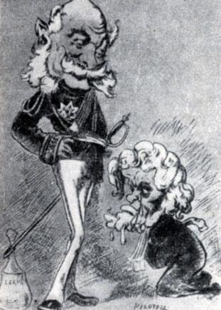 Министр   иностранных  дел версальского правительства Жюль Фавр взывает о помощи  к   Вильгельму I. Карикатура Ж. Пилотеля.