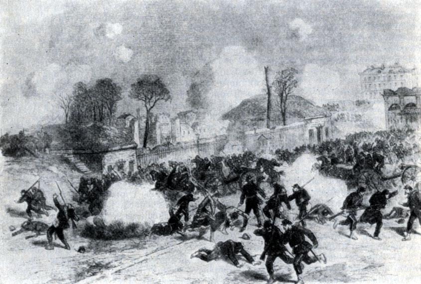 Бой у заставы Майо. Гравюра. 1871 г.
