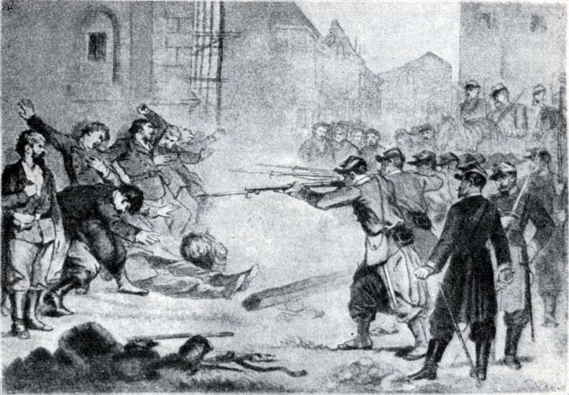Расстрел коммунаров на одной из парижских улиц. Рисунок. 1871 г.