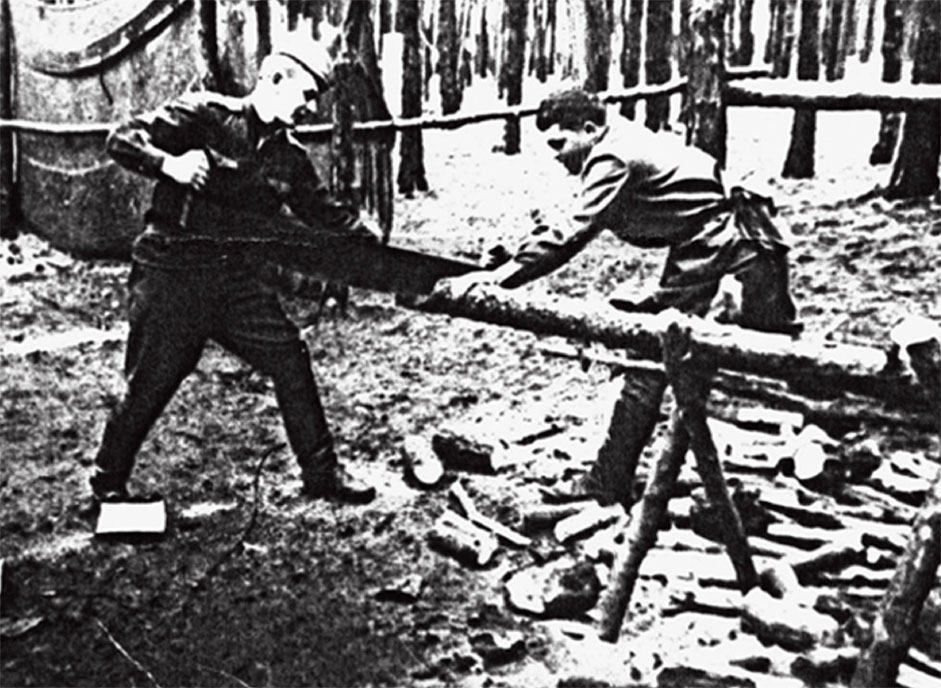 Д.Ходак (слева) и С. Крякин заготавливают дрова для печки-буржуйки