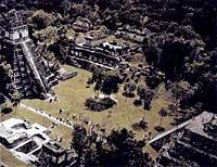 Развалины города, построенного индейцами Майя.